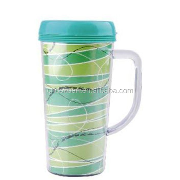 Promotional Custom Paper Insert Double Wall Plastic Travel Mug with Handle