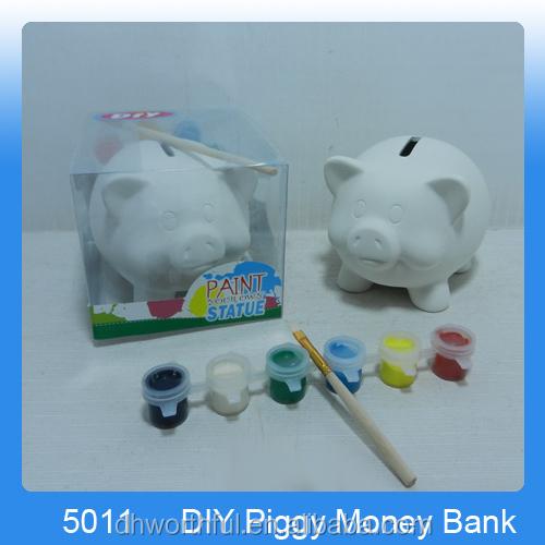Diy Money Bank White Ceramic Piggy Bank Coin Box Diy Money Bank