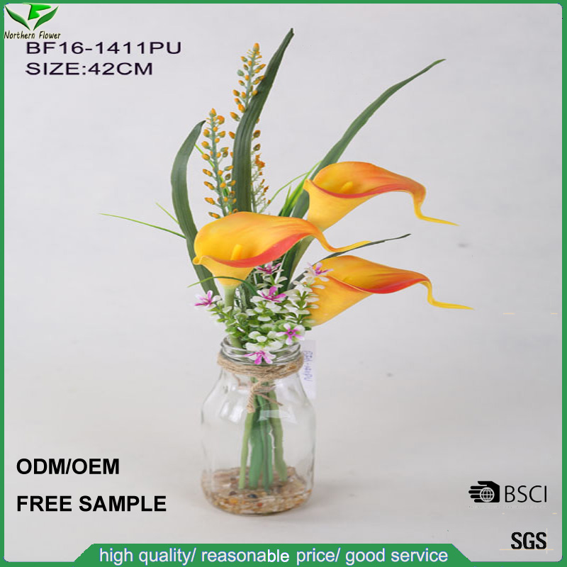 3 flower head PU orange artificial calla lily flowers with glass vase for wedding decoration, silk fake flowers