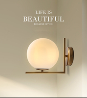 European Contemporary decorative Modern simple brass gold glass shade wall Light/lamp for hotel/home