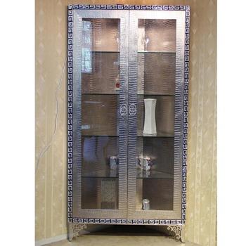 F03 Moderne, Zeitgenössische Edelstahl Silber Nachgeahmt Leder Luxus  Neoklassischen Wohnzimmer Eckschrank Sideboard Schrank