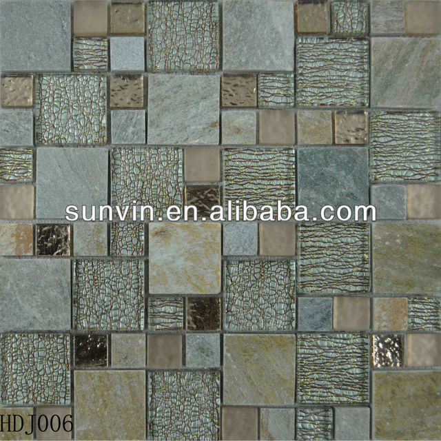 natural stone mix gold line crystal mosaic tile highlight Kitchen or TV back ground