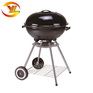 "Trolley Apple shape 18"" Kettle Barbecue Round BBQ Grill with two wheels"
