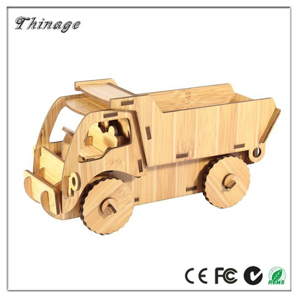 toy kids jigsaw puzzle, Engineering vehicle 3d wooden puzzle diy car model