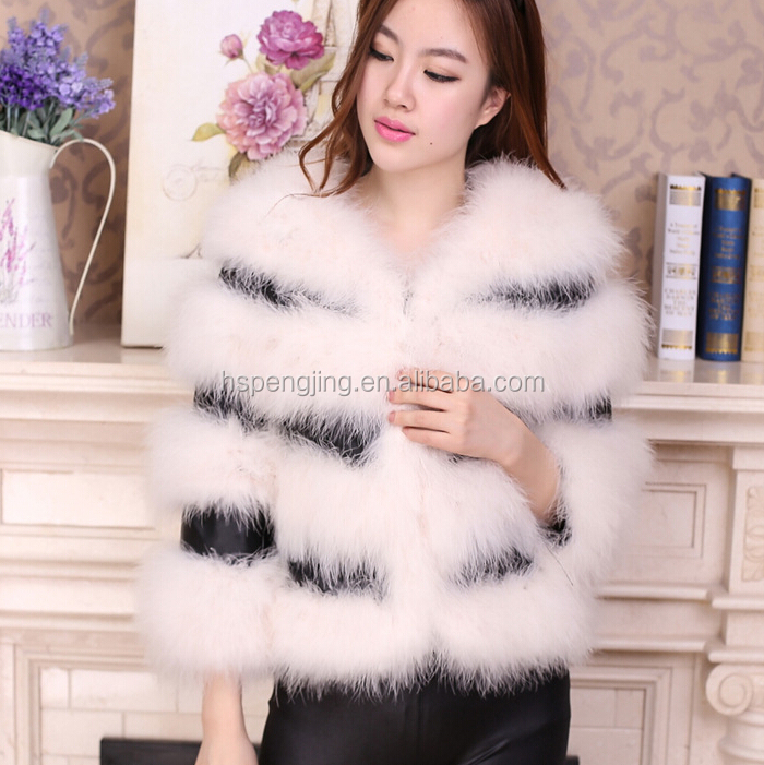 Lovely Stylish Women's Real Turkey Feather Coat Multicolors Ostrich Feather Fur Coat