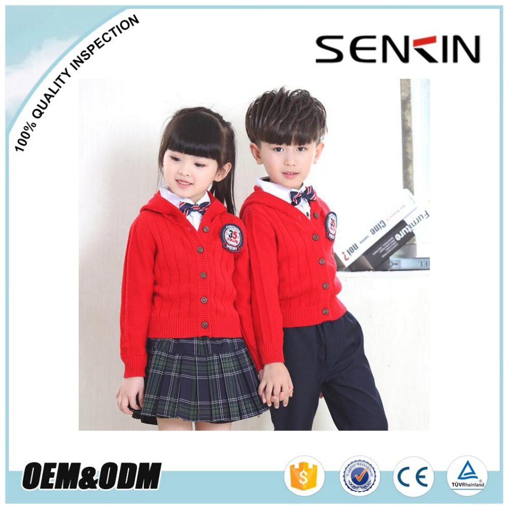 OEM School Red Cardigan Unisex Stylish Kids Primary School Uniform/Sweater Design