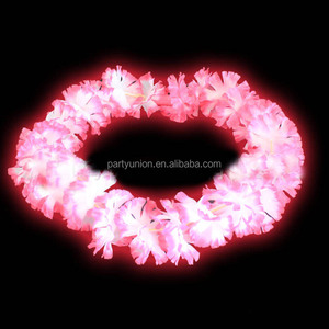 Hot Sale LED Flower Lei Light Up Necklaces for Hawaiian Summer Beach Themded Party