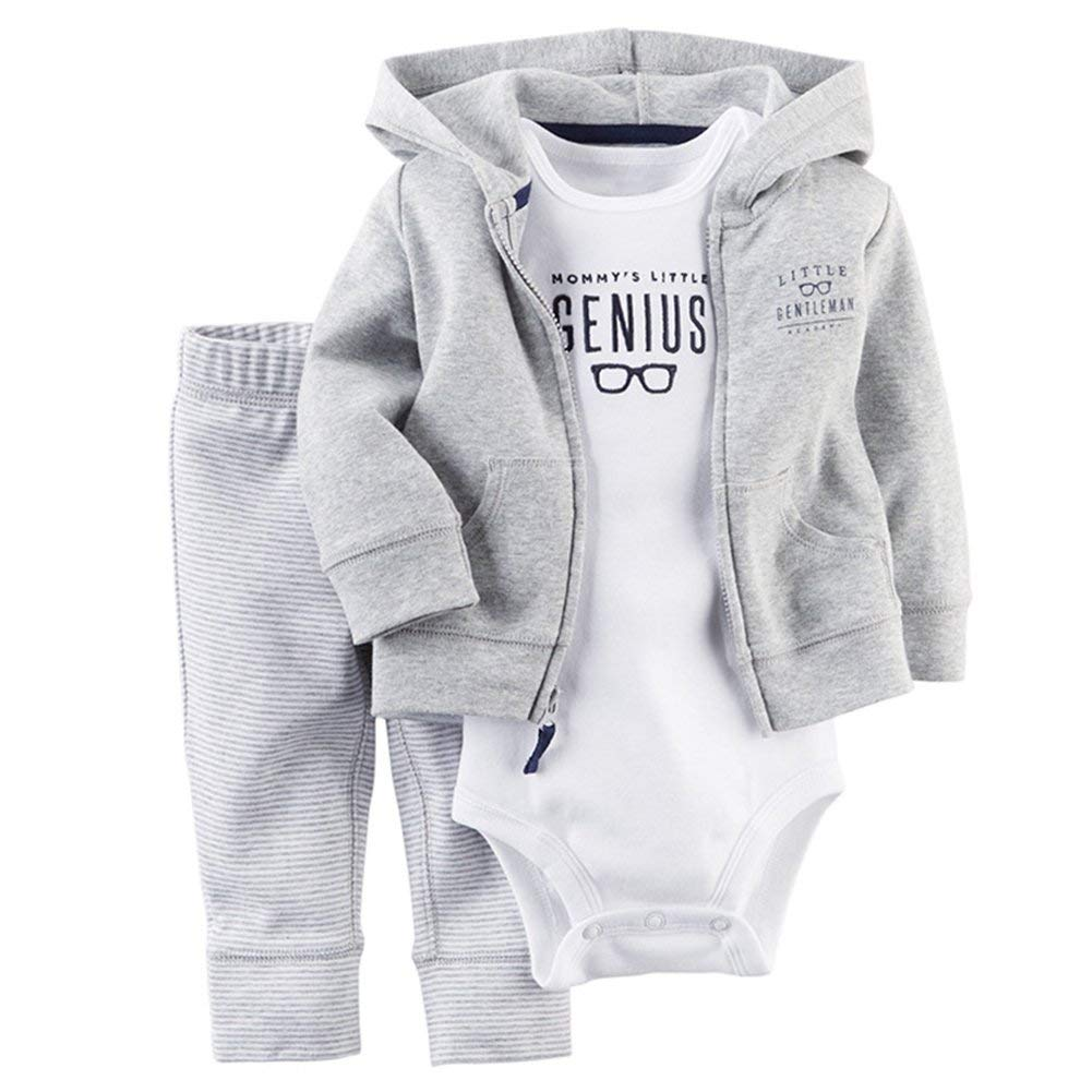 Colors of Rainbow 3Pcs/Set Newborn Baby Boy Outfit Infant Toddler Hoodi Romper Pants Colthing Sets Size 18M (White + Grey)