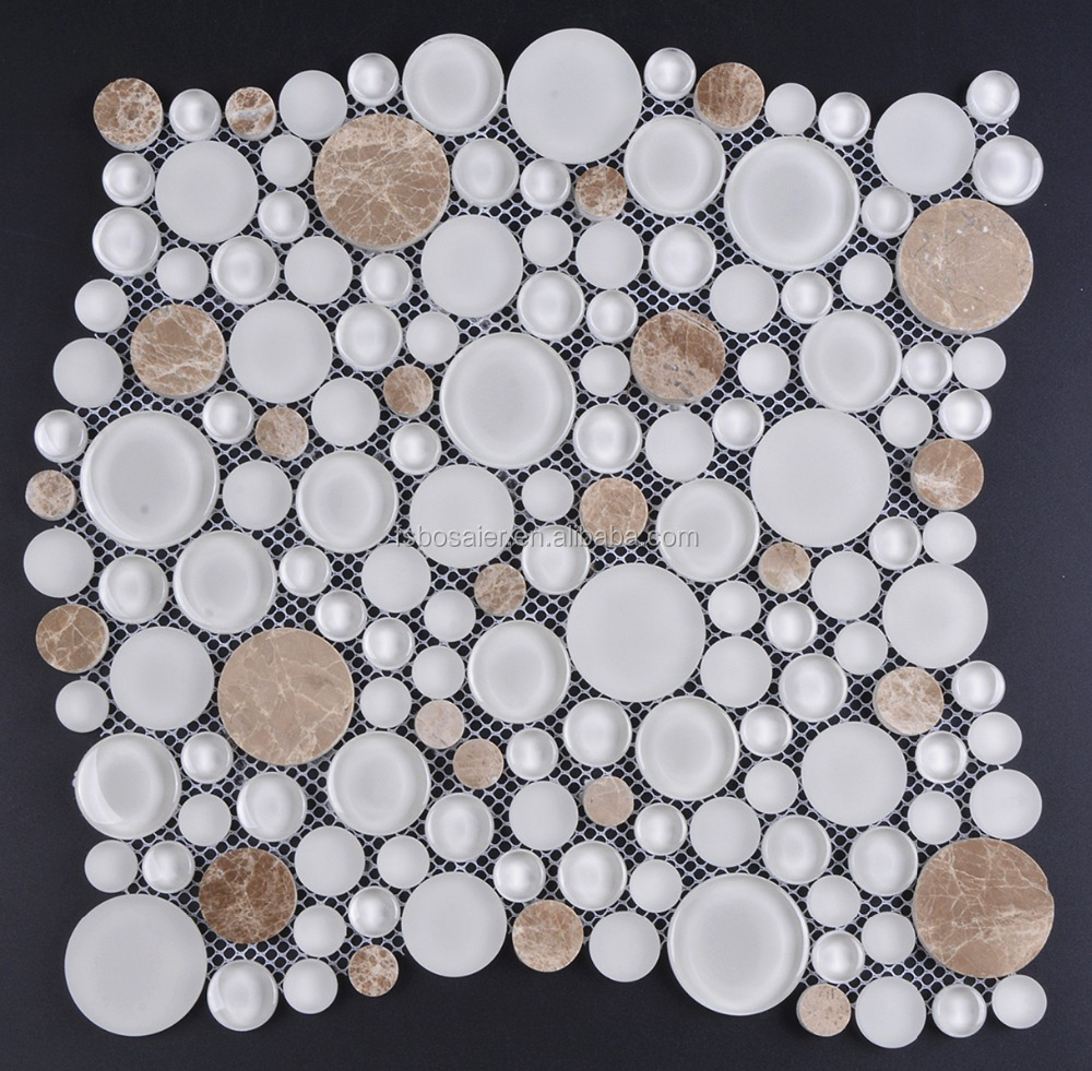 BSM038 Polished and opaque <strong>white</strong> <strong>pebble</strong> round glass stone mosaic <strong>tile</strong> for wall kitchen &amp; border