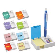 अभिनव अनुकूलित लोगो ठोस सफेद आधार तिरछा कवर प्लास्टिक घन वर्ग संदेश कार्ड प्रदर्शन पेपर क्लिप धारक पेंसिल खड़े हो जाओ