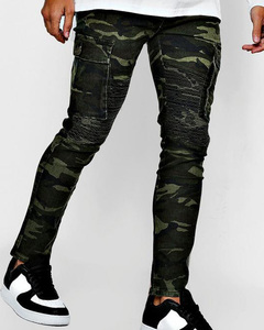 Skinny fit camo biker trousers men jeans with cargo pockets