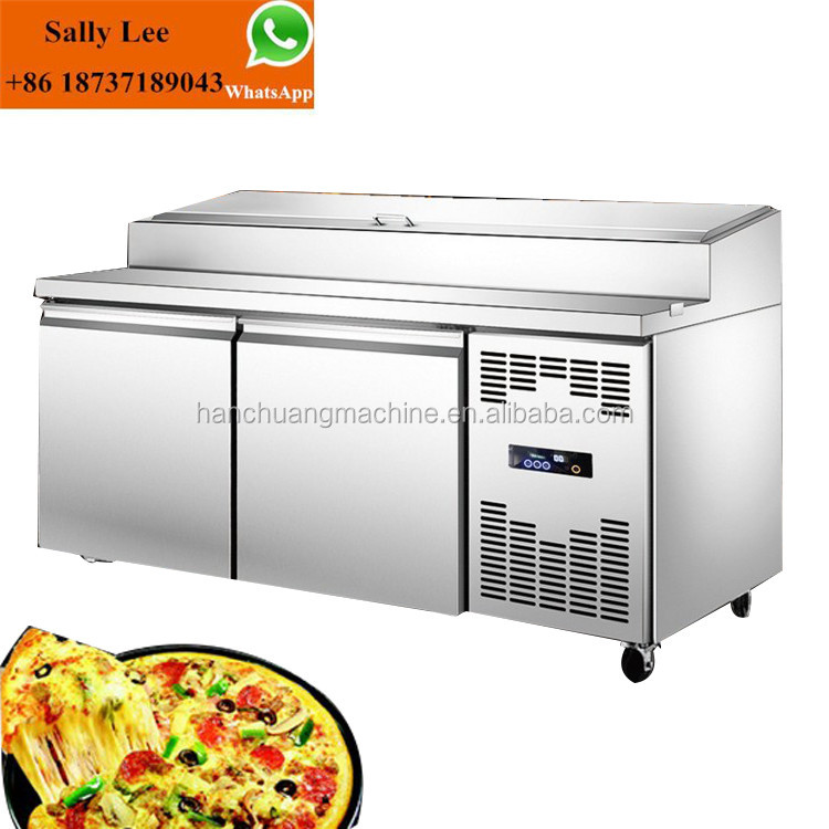 hot sale 2 Door Stainless Steel Refrigerator Prep Table fridge pizza counter chiller