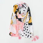 Wholesale 2019 latest soft ladies hijab shawl fashion 180x90cm pink geometric print tassel women viscose cotton scarf