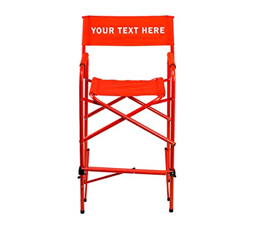 "PERSONALIZED IMPRINTED All Aluminum 30"" Tall Directors Chair by E-Z Up - Red"