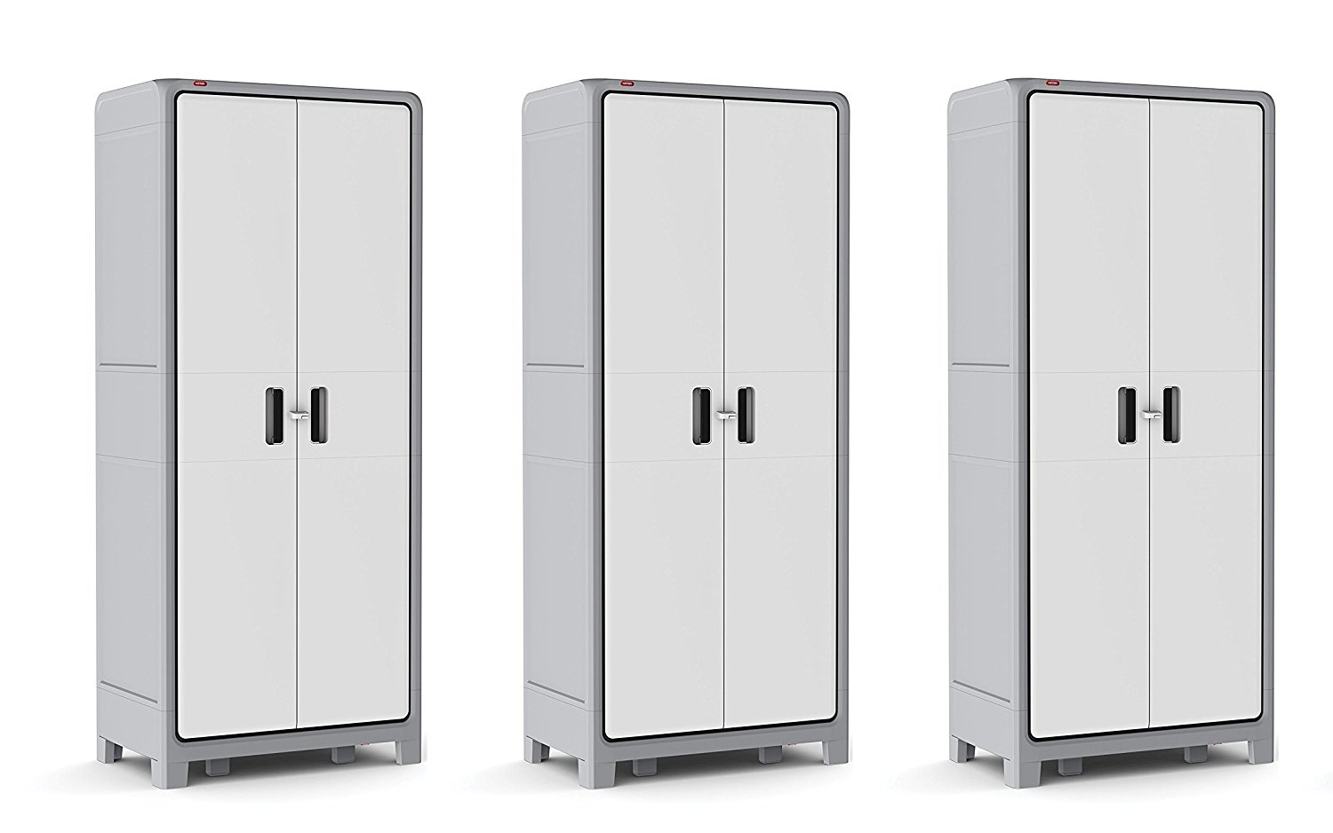 Keter Optima Wonder 72 x 31 x 18 in. Free Standing kJLcPr Plastic Tall Storage Cabinet with 4 Adjustable Shelves, Grey/White (Pack of 3)