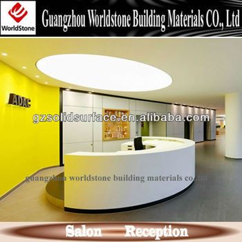Information Desk Design artificial stone curve reception desk counter information desk