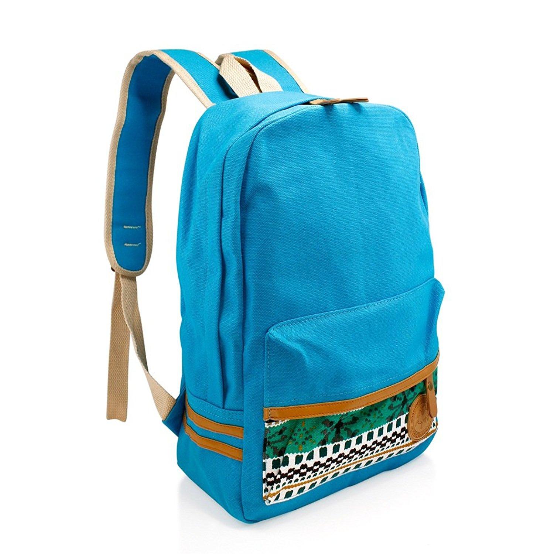 Girls Chic Light Blue Tribal Backpack Kids Aztec Themed White Tan Trim  Carry On e0c95bc8e0292