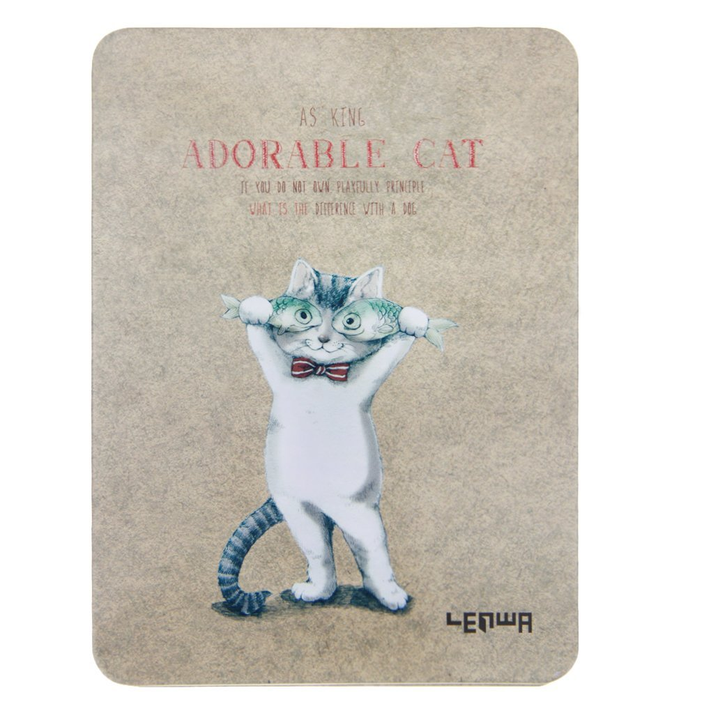 "Cute Adorable Cat Hard Cover A6 Blank Ruled Pages Writing Notebook 128 Sheets Kraft Paper Sketching Drawing Notepad Pocket Jotter Journal Diary Memo Steno Book 4.25""x5.71"", Fish Eye"