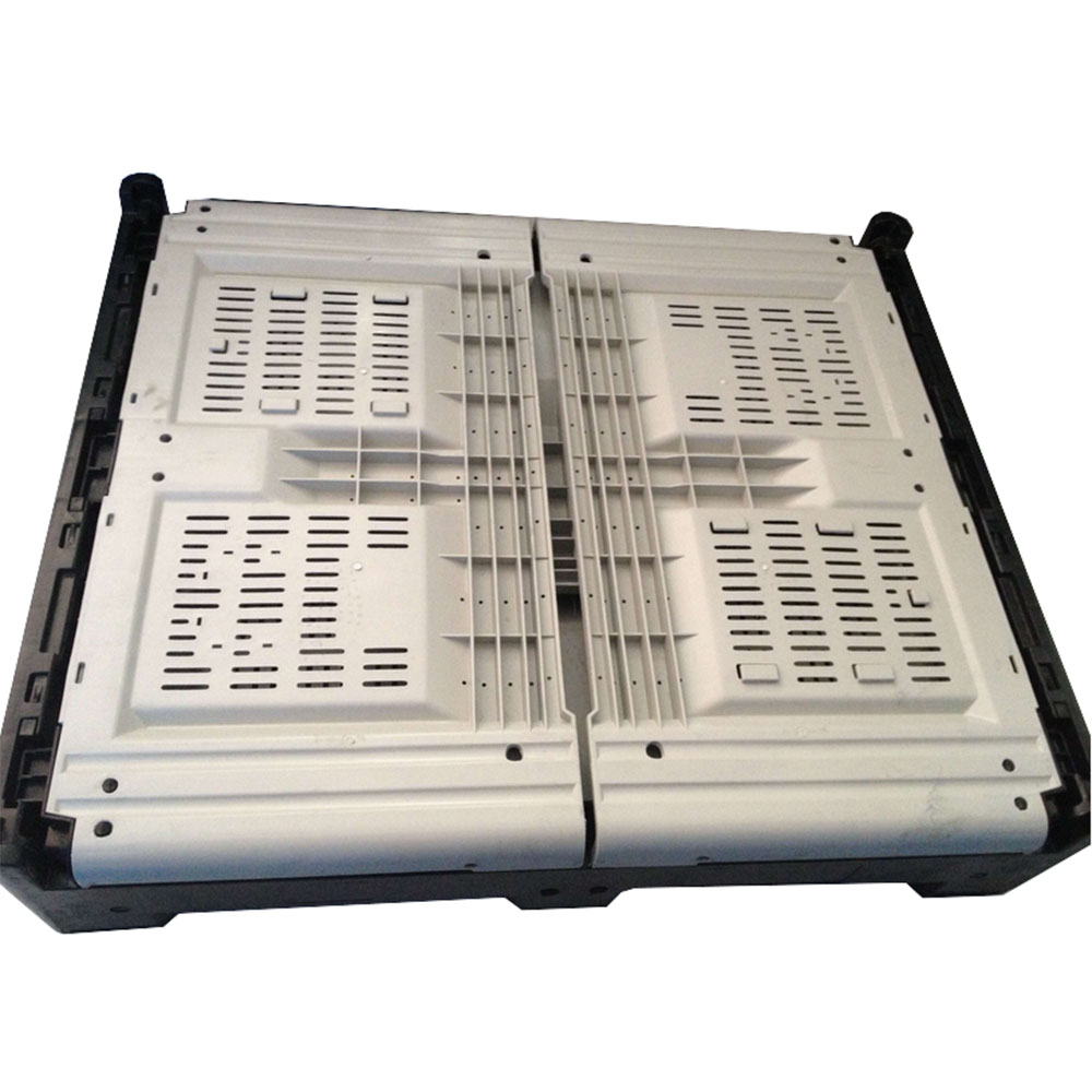 1000kgs Large Volume Foldable Manufacturing Plastic Pallet Crate With Lid