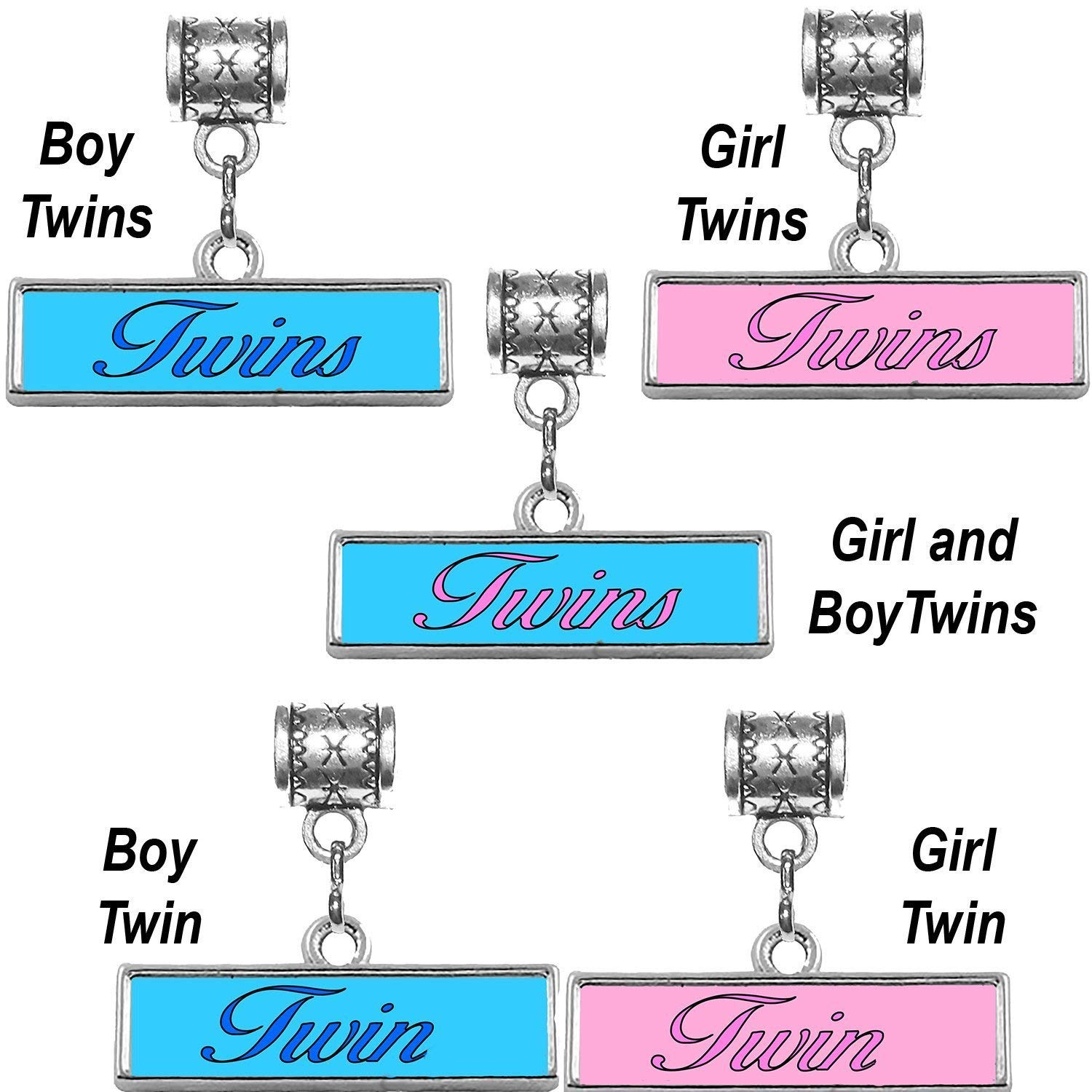 """Twins charm"" or ""Twin charm"" in antique silver in your choice of colors by Mossy Cabin for modern large hole snake chain charm bracelets, or add to a neck chain, pendant necklace or key chain"