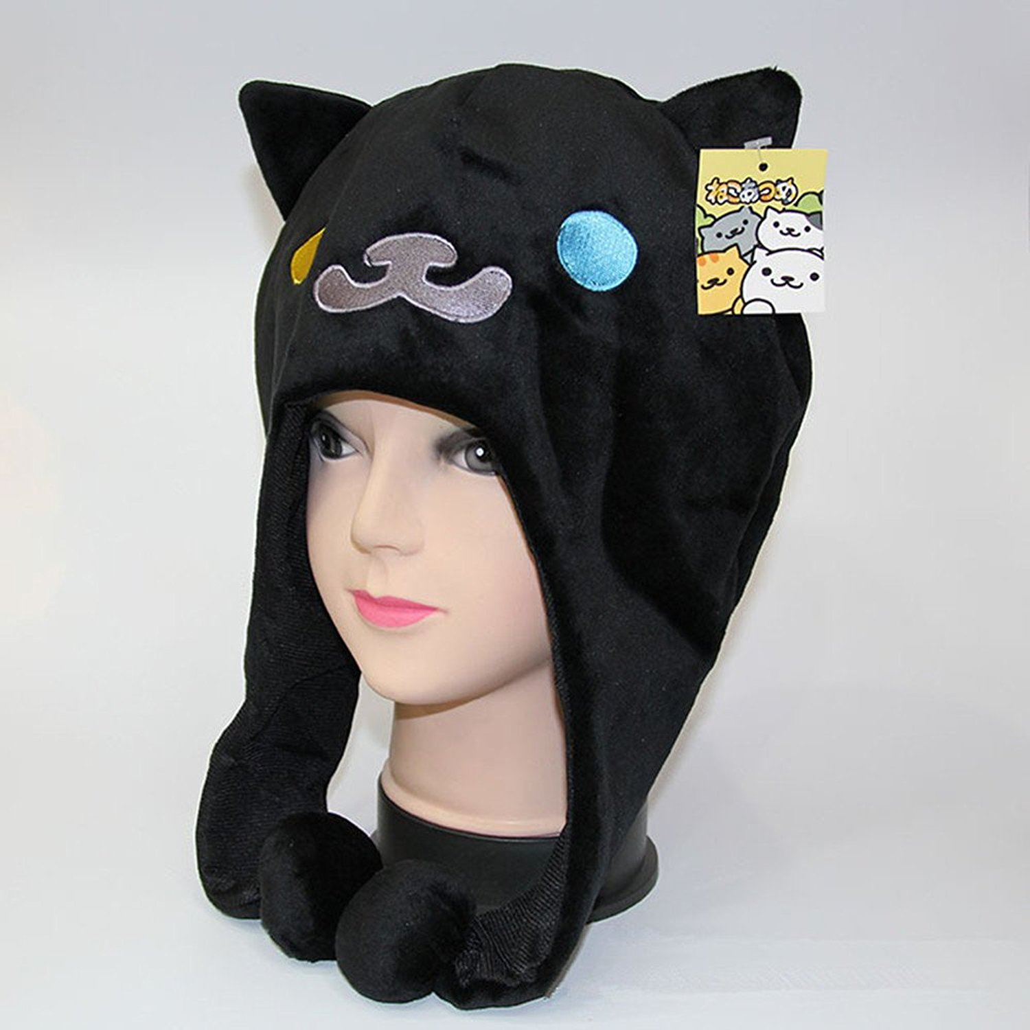 32f5292997e Get Quotations · Anime Cartoon Neko Atsume Hats Cute Cat Plush Winter Warm  Hat Cosplay Hat 3 Color Can
