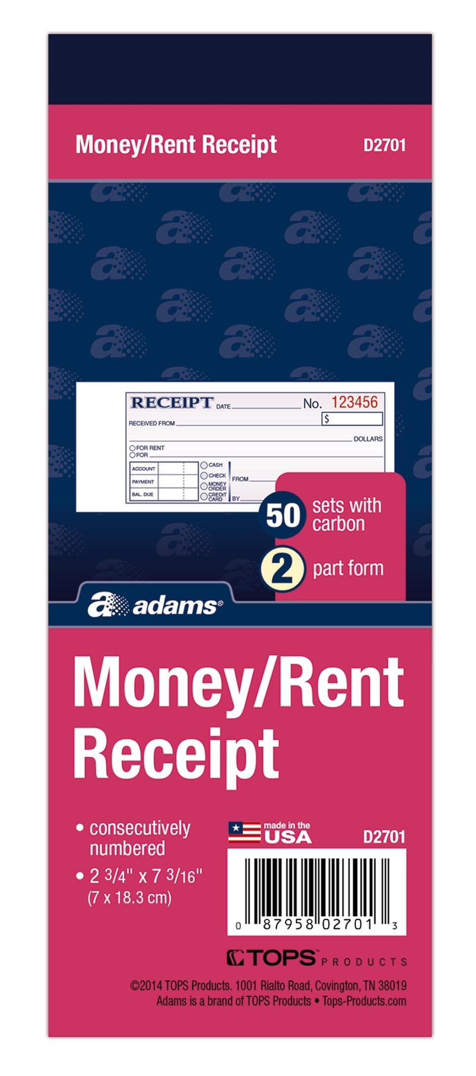 Adams Money/Rent Receipt Book, 2-Part, 50 Carbons, 2-3/4 x 7-3/16 Inches, 50 Sets per Book (D2701)