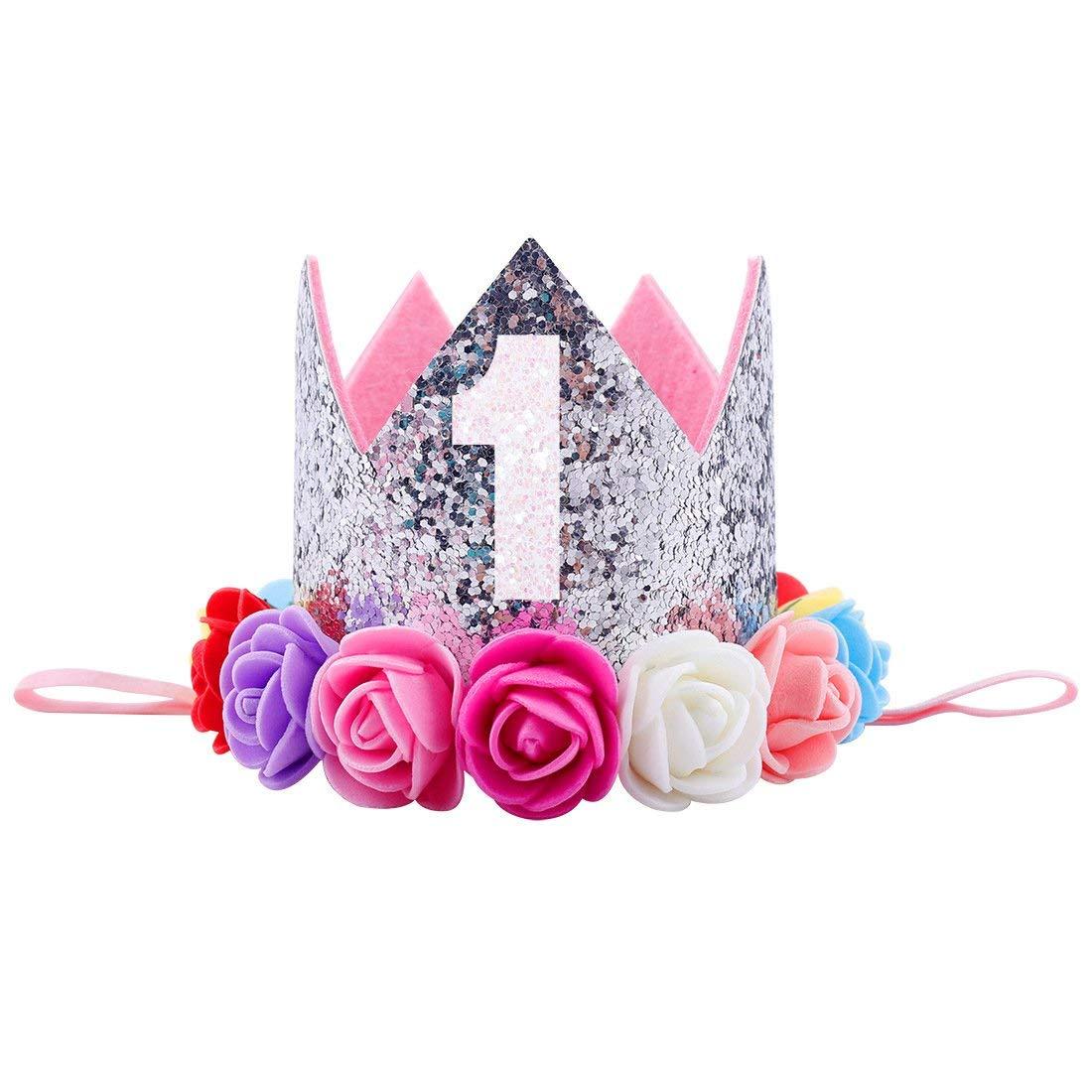 Get Quotations · Baby Princess Tiara Crown Baby Girls First Birthday Hat  Sparkle Rose Flower Crown Birthday Headband Hair 27edb6388ab9
