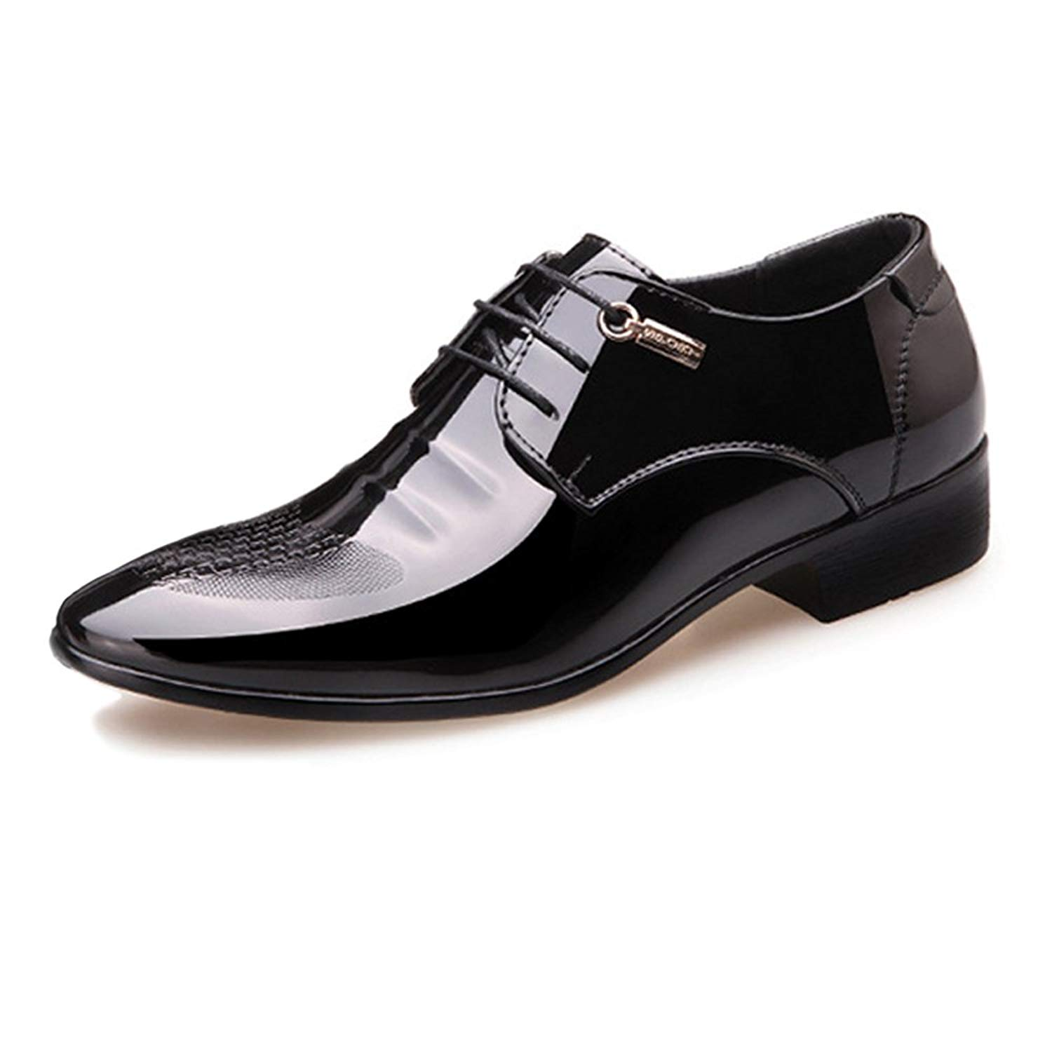 Muyin Men's Shoes Uneven Upper PU Leather Lace up Pointed Toe Breathable Lined Oxfords