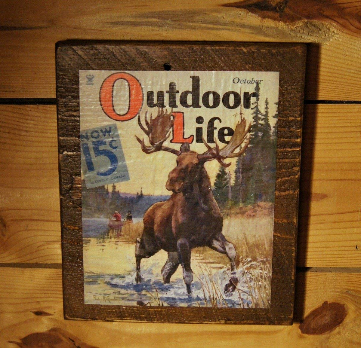 Outdoor Life Vintage Magazine Cover Print on Reclaimed Wood - Moose