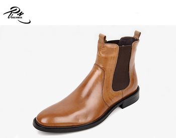Brown Leather Chelsea Mens Ankle Boots