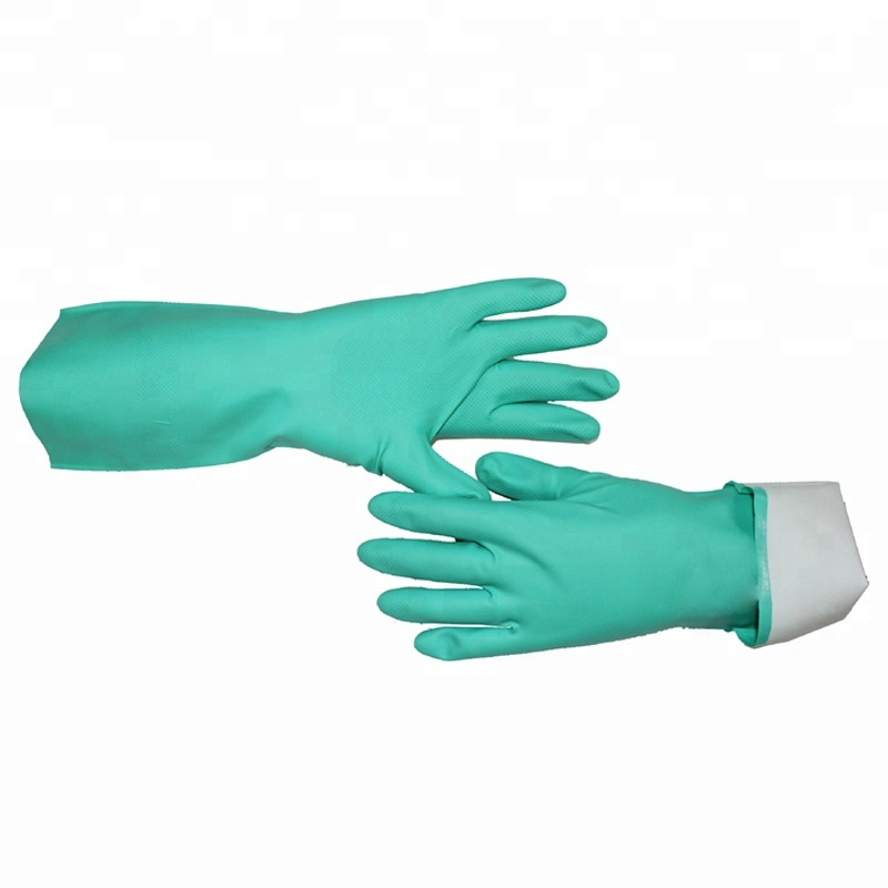 En374-2 Green Chemical Resistant Diamond Textured Safety Work Nitrile <strong>Gloves</strong>, Acid &amp; Alkali &amp; Oil Proof Buy Hand Rubber <strong>Gloves</strong>