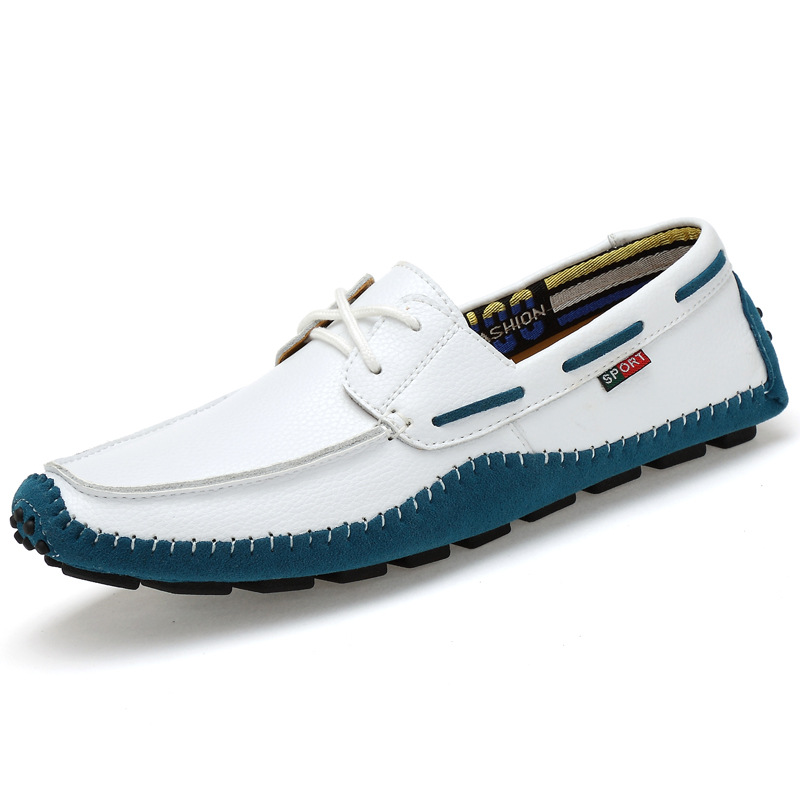 Blue White Fashion Men S Lace Up Casual Pointed Business Leather Shoes
