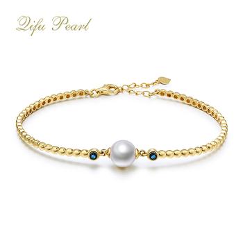 Elegant Original 14k Solid Gold Natural Pearl Women Bracelets Patterns Bracelet