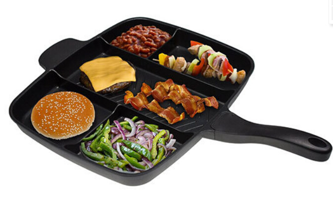 FDA certification devided 5 in 1 non sticker cast iron frying pan master pan