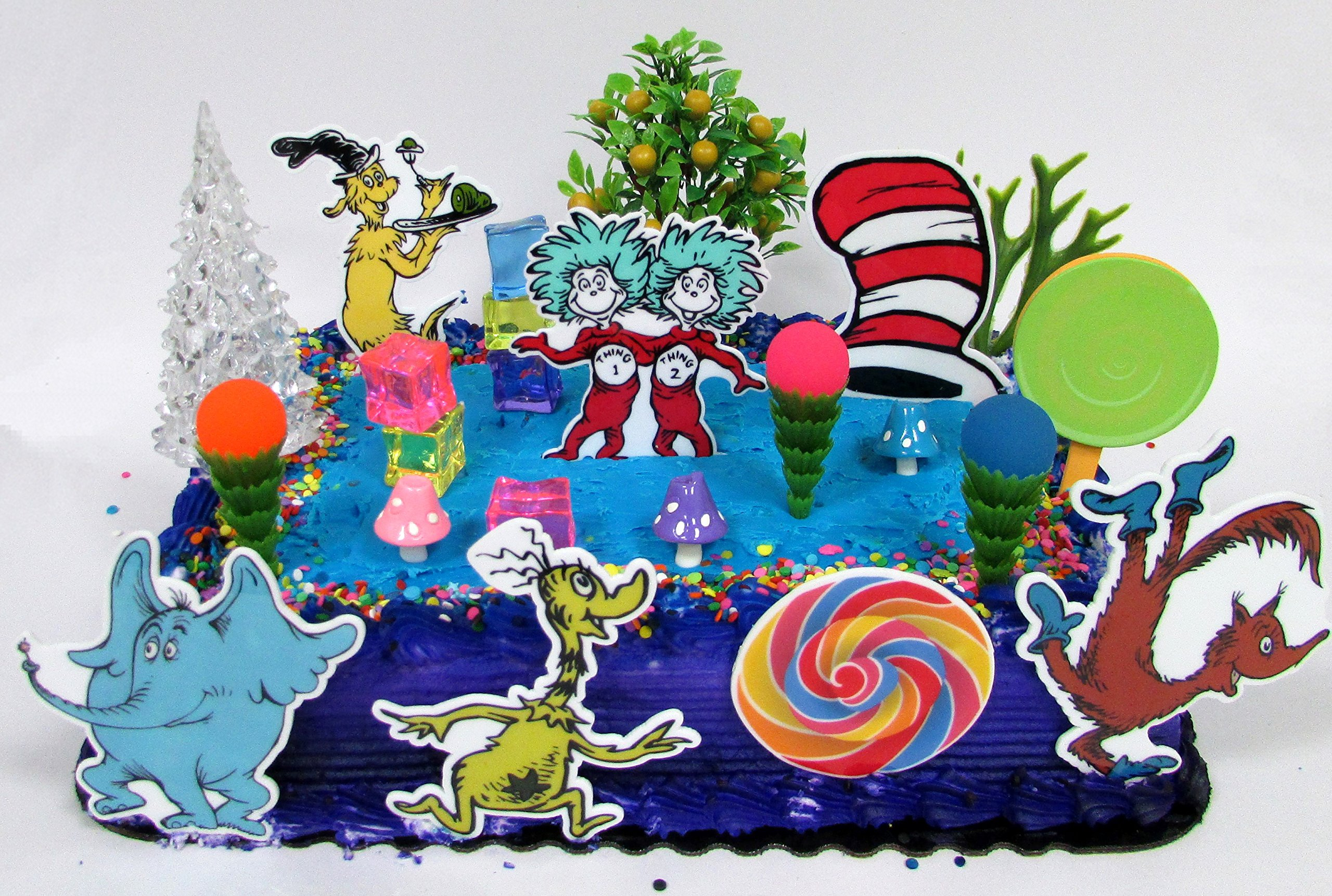 Get Quotations · Dr. Seuss Themed Deluxe Birthday Cake Topper Set Featuring  Various Characters And Decorative Themed Accessories