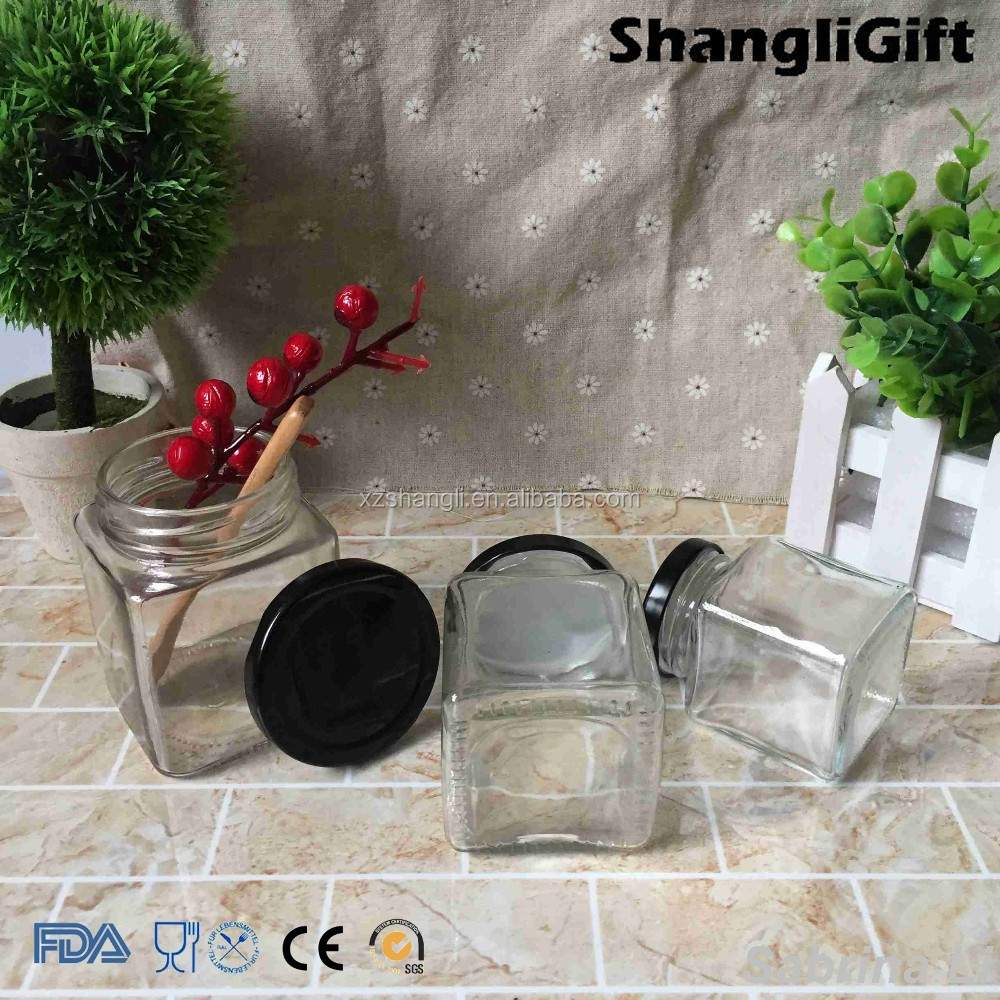 100ml 200ml 300ml square shaped glass jar for filling honey with lid