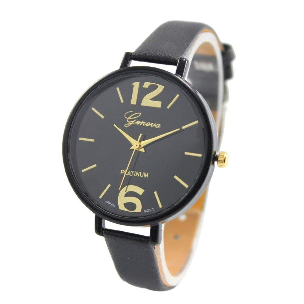 yijiamaoyiyouxia-Watch, Geneva Women Faux Leather Analog Quartz Wrist Watch