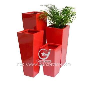 Bright Color Tall Vertical Square Red Planter Pot Buy Tall Red