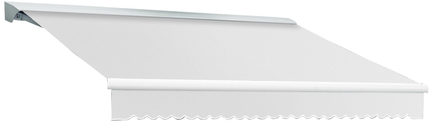 AWNTECH 24-Feet Destin-LX Hood Right Motor with Remote Retractable Awning, 120-Inch, Off White