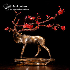 Handmade Creative Table Decor Metal Cast Brass Animal Sika Deer Statue