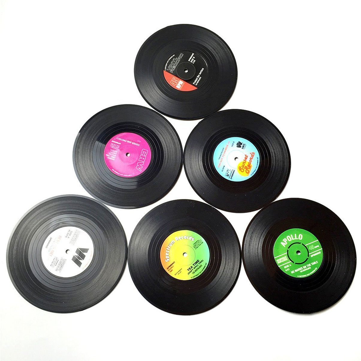 Watson Lee Vintage Vinyl Record Beverage Coasters For Drinks, Wine Glasses, Beer, Whiskey, Cocktail, Hot and Cold Drinks, Set of 6, 4.2 Inch