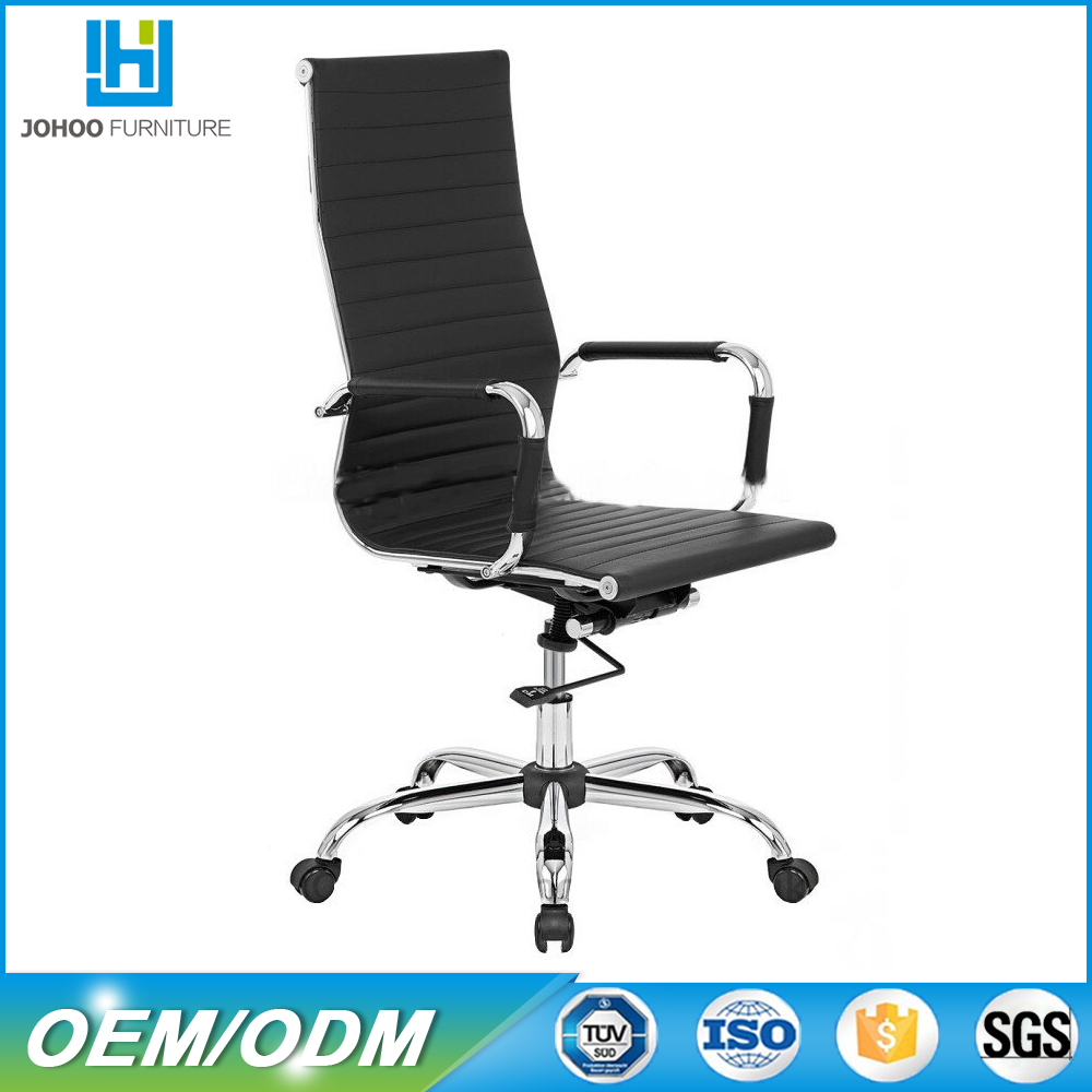 High Back White Leather Executive Swivel Office Chair with chrome base