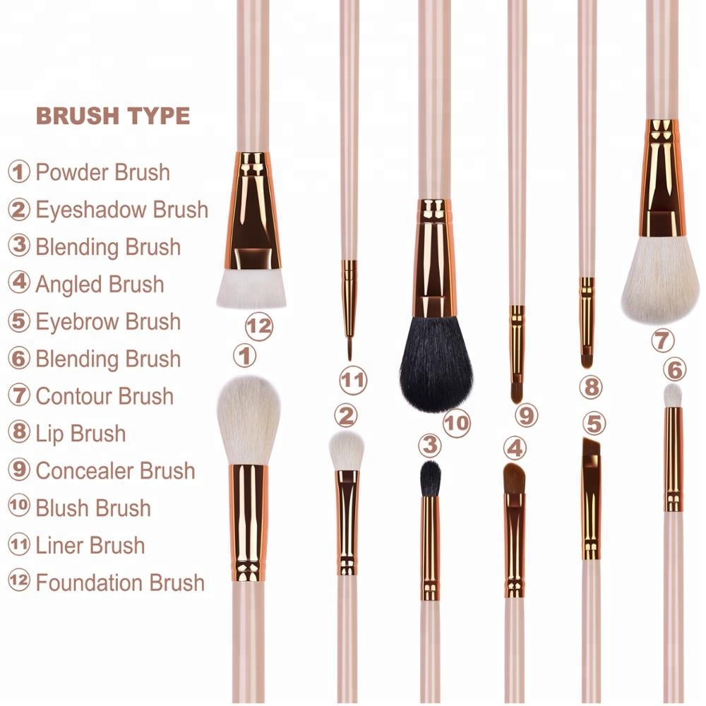 OEM Shenzhen 12pc New Personalized Synthetic Rose Gold Vegan Wholesale Custom Logo Private Label Professional Makeup Brushes