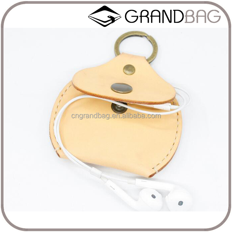 Orginal design custom genuine leather coin purse with key ring earphone holder leather storage organizer