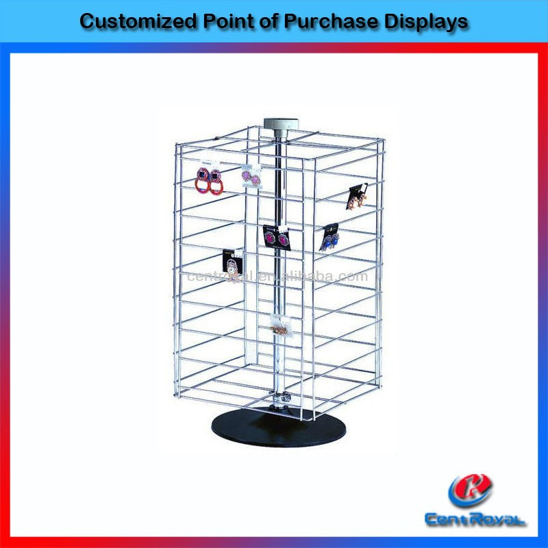 custom rotating wire counter spinner rack for earrings