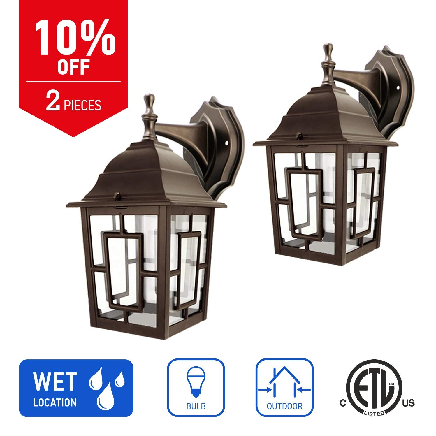 IN HOME 1-Light Outdoor Exterior Wall Down Lantern, Traditional Porch Patio Lighting Fixture L05 with One E26 Base, Water-Proof, Bronze Cast Aluminum Housing, Clear Glass Panels, (2 Pack) ETL Listed
