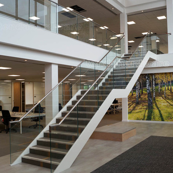 Straight Flight Commercial Staircase With Closed Risers Toughened Glass  Balustrade
