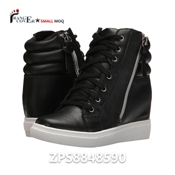 03bf0b7980bb Fashion Synthetic Black PU Leather lady Women High top Hidden Heel wedge Sneakers  shoes