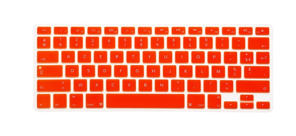 "French / English Keyboard Cover, HQF® Notebook Silicone *French Belgian Keyboard Skin* Protection Laptop Layout for All Apple Macbook Air Pro 13"" 15"" *US Version*(Orange)"