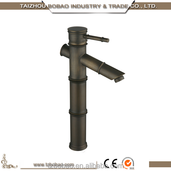 China Cheap Ceramic Cartridge Single Lever Antique Brass Bamboo Faucet Mixer Tap